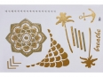 Gold Silver | Jewelry Flash Tattoo stickers W-108, 21x15cm