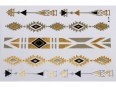 Gold Silver Black | Jewelry Flash Tattoo stickers W-119, 21x15cm